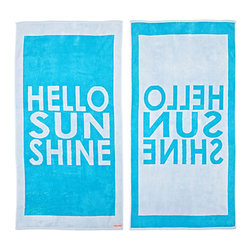 FREEMAN LCL - 100% Cotton Reversible Oversized Beach Towel, Grey/Turquoise, Hello Sunshine - This wonderfully lush, oversized beach towel features a fun hello sunshine print on both sides. Made from super plush cotton, this beach towel is reversible for versatility.