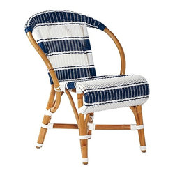 Monaco Dining Chair - I would pair a nice bistro table with these classic, striped blue and white dining chairs.