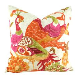 "MyPillowStudio - Designer Pillow 20"" Feather Down Pillows Richloom Preen Fiesta, Papaya - Fabulous designer pillows!"