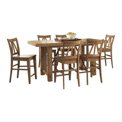 Riverside Furniture - Riverside Furniture Summerhill 7 Piece Gathering Dining Table Set in Canby Rusti - Riverside Furniture - Dining Sets - 9165491655Kit7PcDiningSet