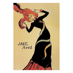 """Buyenlarge.com, Inc. - Jane Avril - Gallery Wrapped Canvas Art 28"""" x 42"""" - Henri de Toulouse-Lautrec (1864 - 1901) was a French painter, printmaker, draftsman, and illustrator. The period he created his art was known as the Belle poque and his focus was on the decadence in Parisian society. It is very fitting that one of Toulouse-Lautrec's finest posters should be the last one he made for Jane Avril. It is dated in February of 1899, and in March he entered a clinic for the first time. This fascinating work is a true child of the Art Nouveau age... It shows the constant flirtation with the macabre that is part of Art Nouveau. Snakes were portrayed a great deal in the jewelry of the period... So Toulouse-Lautrec's final portrayal of Jane Avril is not as a Japanese geisha from Bing, but as a girl stifled by the art of her time. She liked the poster very much, but her impresario refused it, and it was never shown."""" """"The snake costume was probably an invention of Lautrec's rather than one that Jane Avril actually wore in a dance, which may be why her manager rejected the poster and it was never used. A preparatory drawing shows only a boa-like form wound around the dancer. In comparison to the poster made of her six years before, this design shows both Avril and Lautrec under the sway of Art Nouveau. Janes's form fitting dress departs entirely from the bonnet's, aprons, petticoats, and full skirts of her earlier costume (see Jane Avril), and one might assume that her dancing had changed to a similarly sophisticated style. The snake, at which she feigns horror, is used to complement her twisting form"""