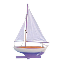 Handcrafted Nautical Decor - Sunset Sailboat - --NOT A MODEL SHIP KIT   --Attach Sails and this Sailboat Centerpiece is Ready for Immediate Display ---- --Brighten   your day, or any room of your home, with   this delightfully fun  Sunset Sailboat - Lavendar 17'' model. Perfect nautical Decor gifts for friends,     children, or party guests, they also make excellent nautical decorations   or sailboat centerpieces for a reception or group event. Liven your   office, beach   house, or sunroom with one of these colorful sailboat   models today! --------    Handcrafted solid wood hull, masts and stand with wood supports--    Largest sailboat selection available - We offer over 150 unique model sailboats --    Featured in Sept 2011 Brides magazine - Excellent wedding table centerpiece--    --    Perfect nautical gift for friends, children or party guests--    --    Ideal for banquets, receptions, meetings, or any other nautical party or event ---- Contact us for quantity discounts---- --This model sailboat requires minor assembly. Simply insert mast into hull and clip on the sails. --There is no rigging to tie or tighten. Assembly takes less than 2 minutes.--
