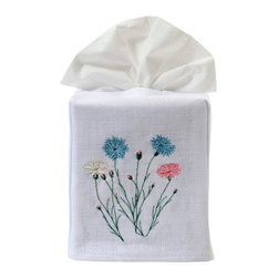 Jacaranda Living - Wildflowers Tissue Box Cover - Delicate wildflowers, embroidered in pastel blue, pink and cream against a white background, are the focal point of this lovely tissue box cover. This simple yet memorable, linen tissue box cover was made by Zulu women in South Africa, in a socially responsible environment. This is an elegant cover that you can feel good about, every time you reach for a tissue.