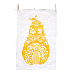 Mini Empire - Mini Empire Linen Tea Towels, Yellow Pear - The designer,Jenny von Döbeln, has made a success in Sweden with her fairytale world full of her charactistic owls and other subtle, finely drawn animals. Modern, but with a lovely retro twist we think. These deluxe teatowels with either a sleepy pear in grey or yellow or a wonderful wooded nights cape is inspired by Swedish folklore and will surely garnish any old cottage or modern palace.