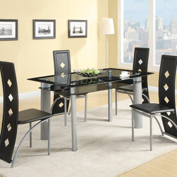 "Coaster - Fontana 5Pc Dining Set - The sleek contemporary style of this five piece set will create a sophisticated focal point in your updated kitchen or dining room. The tinted glass table top compliments the strong silver metal legs for a bold and attractive look. The equally unique side chairs feature black vinyl seats and seat backs. The graceful curves and pierced designs of the sleek seat back continue to add to the chic modern appeal.; Set includes Dining table and 4 pcs Dining Chair; Contemporary Style; Silver Metal Table Base; Black Vinyl Chair; Dimensions: Dining Table: 60""L x 36""W x 30""H; 20.75""L x 16.50""W x 41""H"