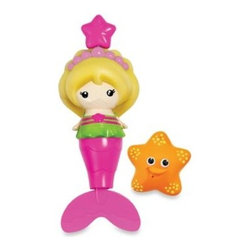 Munchkin - Munchkin Splash Along Mermaid - Let your little one go on an underwater adventure with this colorful mermaid. She has soft rubber hair with a crown on top. Pull her pendant crown and watch as she flaps her tail and really swims around the bath tub.