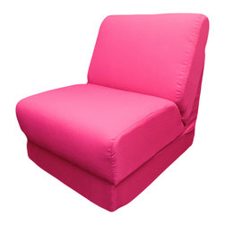 Fun Furnishings - Fun Furnishing Teen Chair with Pillow Fuchsia Canvas - This comfortable versatile sleeper chair is a big hit with tweens and young teens. It is a sturdy yet light weight chair for their rooms and jus the thing for friends spending the night. Flip out the chair to make an instant sleeper 64 inches long.  Put two or more chairs together side by side to make a sectional. The possibilities are endless! It should be noted that while this chair is large enough to seat many older teens the fold out bed is 64 inches long,  Built-in Durability We have worked hard to make our furniture durable and help it retain its appearance. We include a layer of fiber on the seating surfaces to keep the fabric tight much longer. Even so, furniture does wear with use. Here are some tips to help you keep it looking good while your kids enjoy it: 1. Jumping on the furniture is safe and a lot of fun, but it will make the piece look tired sooner. 2. Sitting or jumping on the arms of the furniture is not recommended.  3. As a result of acrobatic use the fabric may stretch. You can use a steamer or mister to lightly dampen the fabric with distilled water. As the fabric dries it will shrink slightly and look almost like new again. Cleaning the Cover:  We use only fine upholstery-grade fabrics that can take lots of use from kids. Our Micro Suedes, denims and chenilles are all washable.  But we cannot prevent the covers from getting dirty. Here's what you can do to keep them looking new:  1. Blot up spills immediately. Surface wash any remaining stains with a mild, non-toxic cleaner. Do not rub too hard or use a strong cleaner; you will remove the fabric's finish and possibly some color too. 2. The furniture covers are removable. We recommend dry cleaning to keep the covers looking their best as long as possible. 3. You may apply a scotch-guard type treatment to protect the covers. If you choose to do this always start with a small amount on the bottom of the piece to make certain the fabric will not be damaged. 4. The white bed surface is a poly/cotton blend and can be cleaned with stronger stain removers. Slipcover Removal Instructions 1. Unzip and remove the backrest cushion 2. Unzip and remove the seat cushion 3. Unzip the bottom panel and remove the cover from the frame 4. Reassemble in the following order: a. replace the cover on the frame b. adjust to obtain a snug fit at all the edges and corners c. zip the bottom panel closed d. insert the seat cushion, rounded edge first with the padding facing toward you and zip closed (assuming you stand in front of the sofa) e. insert the back cushion, rounded edge first with padding facing away from you and zip closed (assuming you stand in front of the sofa placing the cushion in downwards) Inserting the Backrest Cushion 1. Insert the backrest cushion with the padding facing up and the rounded   edges in first. 2. Make sure that the cushion is pushed completely to the back of the fabric pocket and make sure the corners of the foam fit into the corners of the fabric pocket. 3. Once the foam piece is aligned properly into the fabric pocket, zip the fabric pocket shut. Take Note: If the foam piece is not fitted into the fabric pocket properly, the seat cushion and the back rest will not lay flat when assembled in the seated position.