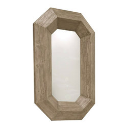 Kathy Kuo Home - Rila Canted Modern Rustic Chunky Wood Lozenge Floor Mirror - Chic and rustic, this reclaimed pine lozenge mirror will look so refined in your foyer or dining room. This geometric beauty was elegantly constructed from sustainably harvested wood, and has a sophisticated distressed finish.