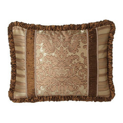 Austin Horn Classics - Austin Horn Classics Standard Pieced Sham w/ Ruched Silk Insets & Welt - Luxurious fabrics and lavish trims in shades of caramel and latte add up to a level of opulence that makes these bed linens hard to resist. Made in the USA of polyester/rayon and silk fabrics by Austin Horn Classics. Dry clean. Hand-quilted damask comf...