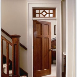 Craftsman wood doors - Beautiful mahogany interior panel doors feature unique details differentiatiing them from run of the mill craftsman doors.  Hand crafted in USA.  Available pre-hung or door slab only.  Unfinished and Pre-finished.