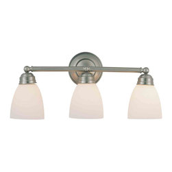 Trans Globe 3357 BN Brushed Nickel 3 Light Vanity - Trans Globe 3357 BN Brushed Nickel 3 Light Vanity-Number of Bulbs: 3-Bulb Type: 100 Watt Medium-Bulbs Not Included-Glass/Shade: White Frosted-Weight: 9-1 Year Limited Warranty