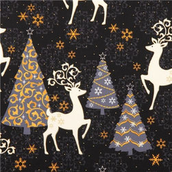 black Xmas tree deer Christmas fabric Quilting Treasures - black Studio 8 Xmas fabric from 'Celebrate the Season' with reindeer & gold metallic