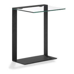 Total Transparency Side Table - Even non-modernists will love this sleek, edgy side table. Its angular lines and clear tempered glass fit seamlessly into any space.