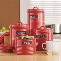 Home Essentials - Cherry Red Can Shape Storage Canisters with Chalkboards - Add a pop of color to your kitchen and keep essential ingredients within reach with our durable, and ever so practical canister set. Both functional and beautiful, our artfully designed canisters are shaped to look like authentic cans and will spice up any kitchen or living room with culinary style. The chalkboard labels make it easy to find exactly what you need to whip up any culinary confection!  * Set of 4    * Made of ceramic material  * Gift boxed    Dimensions are as follows:  Small: H: 4.3� D: 4.9�   Medium: H: 5� D: 4.9�  Large: H: 6.3� D: 4.9�  Extra large: H 7� D: 4.9�