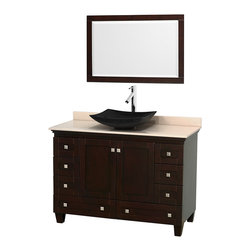 "Wyndham Collection - 48"" Acclaim Single Vanity w/ Ivory Marble Countertop & Arista Black Granite Sink - Sublimely linking traditional and modern design aesthetics, and part of the exclusive Wyndham Collection Designer Series by Christopher Grubb, the Acclaim Vanity is at home in almost every bathroom decor. This solid oak vanity blends the simple lines of traditional design with modern elements like beautiful overmount sinks and brushed chrome hardware, resulting in a timeless piece of bathroom furniture. The Acclaim comes with a White Carrera or Ivory marble counter, a choice of sinks, and matching mirrors. Featuring soft close door hinges and drawer glides, you'll never hear a noisy door again! Meticulously finished with brushed chrome hardware, the attention to detail on this beautiful vanity is second to none and is sure to be envy of your friends and neighbors"