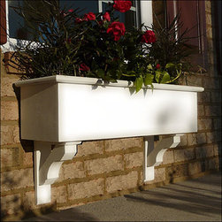 Cunningham Window Boxes - At Flower Window Boxes we are helping to transform the window box industry as your affordable no rot solution to window box gardening. Our Cunningham window boxes are made from a no rot PVC material that looks, paints, and feels identical to wood. Get the look of wood and avoid all the maintenance. Benefits include: