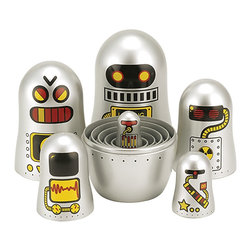 "The Original Toy Company - The Original Toy Company Robot Nesting Dolls, Set of 6 - Nest all your Matroyshka's inside one another Or display all six. These nesting dolls first appeared in Russia during the 19th Century. 6 piece Nesting Dolls- (Boxed set). Nesting Dolls range in height from 4.5"" to 1.37 inch. Ages 3 years plus. Weight: 1 lbs."