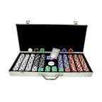 Trademark Poker - 650 Pc Royal Suited Poker Chip Set w Aluminum - Includes a carrying case, 650 chips, 2 decks of cards and a dealer button. Lightweight, durable and sturdy aluminum chip carrying case. Case offer you the most protection for your investment and feature the best look. Black felt interior with space for 650 chips, 2 decks of cards and your holdem dealer button. Chip case that will last a lifetime. Great chips detail. Card suits around the chip as well as the detailed striping make this the best looking chip we offer in this category. Case is produced from the finest aircraft aluminum and reinforced throughout. Produced from a composite resin and an insert that gives them the weight feel of a heavy casino quality chip. Chip size: 39 mm. Dia. (11.50 g.). Playing cards depicted are subject to change without notice. It is at our discretion to replace playing cards with a similar product of equal or higher quality at any time