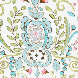 Love Bird Damask Fabric - Our exquisite Love Bird Damask print in shades of soft pinks and mist blue is the perfect companion fabric to our sweet Love Birds. Perfect for apparel or home decorating projects.