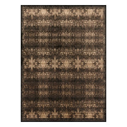 """Loloi Rugs - Loloi Rugs Mystique Collection - Espresso/Black, 2'-0"""" x 3'-0"""" - Tapping into one of today's hottest trends, the brilliantly distressed Mystique Collection offers the look of aged hand-knotted rugs in an affordable power-loomed construction. Made in Egypt of polypropylene/viscose, these rugs are intentionally created with worn patterns to give the appearance of true antiques. Available in ten transitional and updated traditional designs, Mystique is colored with sophisticated bronze, brown, and beige hues."""