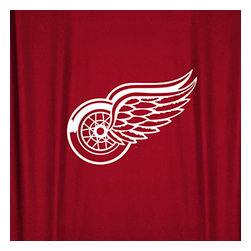 Sports Coverage - NHL Detroit Redwings Hockey Locker Room Shower Curtain - Features: