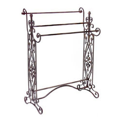 Iron and Scroll Quilt Towel Rack - *Traditional, wrought iron quilt or towel rack in a dark finish with open-metalwork design features 3 horizontal bars.