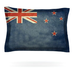 "Kess InHouse - Bruce Stanfield ""Flag of New Zealand"" Blue Pillow Sham (Cotton, 30"" x 20"") - Pairing your already chic duvet cover with playful pillow shams is the perfect way to tie your bedroom together. There are endless possibilities to feed your artistic palette with these imaginative pillow shams. It will looks so elegant you won't want ruin the masterpiece you have created when you go to bed. Not only are these pillow shams nice to look at they are also made from a high quality cotton blend. They are so soft that they will elevate your sleep up to level that is beyond Cloud 9. We always print our goods with the highest quality printing process in order to maintain the integrity of the art that you are adeptly displaying. This means that you won't have to worry about your art fading or your sham loosing it's freshness."