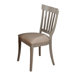Jofran - Jofran 771-814KD Pottersville Slat Back Side Chair in Antique Grey (Set of 2) - Traditionally styled this set has a beautiful soft grey finish with cherry veneer. The slat back side chairs boast a comfortable cushion making this the perfect set to spend leisurely mornings and evenings with family and friends enjoying each other's company. Complete the look with an accompanying server that offers plenty of storage and a removable wine rack.