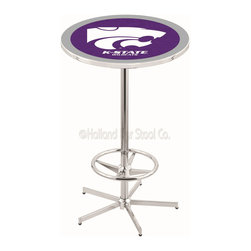 Holland Bar Stool - Holland Bar Stool L216 - 42 Inch Chrome Kansas State Pub Table - L216 - 42 Inch Chrome Kansas State Pub Table  belongs to College Collection by Holland Bar Stool Made for the ultimate sports fan, impress your buddies with this knockout from Holland Bar Stool. This L216 Kansas State table with retro inspried base provides a quality piece to for your Man Cave. You can't find a higher quality logo table on the market. The plating grade steel used to build the frame ensures it will withstand the abuse of the rowdiest of friends for years to come. The structure is triple chrome plated to ensure a rich, sleek, long lasting finish. If you're finishing your bar or game room, do it right with a table from Holland Bar Stool.  Pub Table (1)