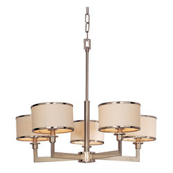 Maxim Lighting - Nexus Single Tier Chandelier - Nexus single tier chandelier features a flat rectangular tube arm that forms to a perfect angle and comes finished in choice of satin nickel or oil rubbed bronze. The white fabric drum shade is trimmed with metal rings in matching finish for a clean, tailored look. Fixture available in three-light, five-light, and six-light versions. Requires (3), (5) or (6) 60 watt, 120 volt, B10 candelabra base incandescent bulbs not included. Three-light: 21W x 19.25H. Five-light: 27.75W x 22.75H. Six-light: 39.25W x 11.75H x 21.25D.