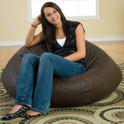 Gold Medal Fashion Large Leather Look Vinyl Bean Bag Chair - The Fashion SuperLarge Vinyl Bean Bag Chair is perfect for lounging anywhere. It is great for watching TV listening to music reading or studying. This superlarge sized bean bag lounger is filled with expanded polystyrene beans not the inferior Styrofoam you find in other bean bag chairs. The grained vinyl cover has the look and soft hand of leather and is available in 5 colors: brown black tan burgundy and navy blue. This chair has a child-safe zipper. In accordance with the Consumer Product Safety Commission this bean bag features a resealable safety closure. The closure seals each zipper and protects children from the age of 12 and younger. About Hudson Industries Inc.President Gary C. Hudson founded Hudson Industries Inc. in 1976. Since then the company has reliably fulfilled the needs of the medical and consumer industries with innovative homecare products. Today the company utilizes state-of-the-art equipment clean modern facilities and a trained technical staff to manufacture over 1 000 quality homecare foam products. Always striving to develop new and useful products Hudson Industries listens to suggestions from home healthcare customers when designing new items and will custom make any foam product you need. Hudson Industries operates a medical manufacturing plant in Richmond Virginia and a consumer plant in Crewe Virginia.