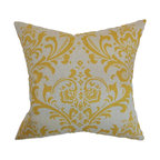 The Pillow Collection - Olavarria Damask Pillow, Corn Yellow - Lend a pop of color to your living room, bedroom or sectionals with this vibrant throw pillow. This accent pillow comes with a neutral background and corn yellow damask print. This square pillow is an ideal indoor accessory which suits various decor themes and settings. Made from 100% soft cotton fabric. Hidden zipper closure for easy cover removal.  Knife edge finish on all four sides.  Reversible pillow with the same fabric on the back side.  Spot cleaning suggested.