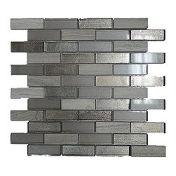 """GL STONE LTD - Random Stone and Glass Strip Mosaic Tile, Grey and Silver ( 1 Carton/ 11 Sq Ft ) - Glossy glass and stone mosaic tile is one of the most popular tile for the interior wall and floors. This beautiful combination shades of grey and silver polished finished creates a sleek and attractive design to any room. The mesh backing not only simplifies installation, it also allows the tiles to be separated which adds to their design flexibility. These tiles will give a luminescent quality to any kitchen or any decorated spot in any room. Each sheet measures 12""""x 12""""( 1 sq. ft.) This mosaic tile is great for shower surround, bathroom floor, kitchen backsplash, or wall feature."""
