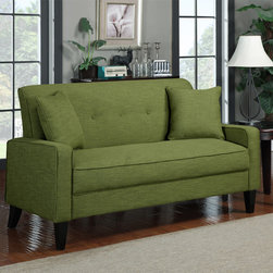 PORTFOLIO - Portfolio Ellie Apple Green Linen Sofa - Add some color to your living room or den with this green-apple-colored upholstered sofa. The sofa is covered in linen-look fabric for extra durability, and its plush foam and fiber seating will keep you, your family, and your guests comfortable.