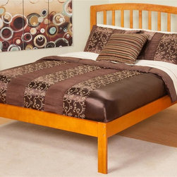 Atlantic Furniture - Eco-friendly Platform Twin Bed - Includes open foot rail. Warranty: One year. Made from rubber wood. Caramel latte finish. 77 in. L x 41.63 in. W x 41.5 in. H (57 lbs.). Bed Assembly Instructions. Headboard Assembly InstructionsThe sleek bowed style and traditional slats compile a classic look for the Richmond. The open head rail design promotes a vertical synergy that will mate nicely with any room setting .