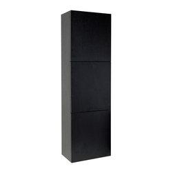 Fresca - Fresca FST8090BW Black Bathroom Linen Side Cabinet With 3 Large Storage Areas - Fresca FST8090BW Black Bathroom Linen Side Cabinet With 3 Large Storage Areas