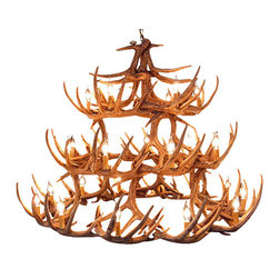 Muskoka Lifestyle Products - Rustic Whitetail Antler Chandelier - 42 Antlers 27 Lights - Our Rustic Whitetail 42 Antler Chandelier is the best faux antler chandelier available on the market. We have taken our replication process from our other rustic decor items and matched the authentic finish. Real antlers are used to model the reproduction for an exact and comparable result. The process to create the antler chandeliers uses a time proven, cast resin system to ensure perfection in every piece. We have hand-stained and antiqued each antler to achieve the exact comparable match to the real antler. Bring the perfect rustic decor to your home, cabin, or office with these antler chandelier reproductions. From the large majestic options to the quiet accent lights, our reproduction antler chandeliers are perfect for entry ways, pool tables, dining room tables, living rooms, offices, or anywhere you want to hang them to create the perfect, natural look in any room. All antler chandeliers are UL listed to ensure absolute safety, quality, and US building code parameters are met.