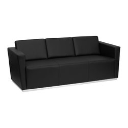 Flash Furniture - Hercules Trinity Series Contemporary Black Leather Sofa with Stainless Steel Bas - This contemporary black leather reception sofa will bring a clean and professional look to your reception area. This sofa will adapt in a variety of environments with its clean line appearance, thick fixed cushion seats and overall comfort level.