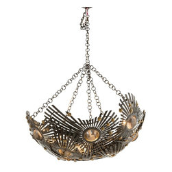 Arteriors - Falcon Chandelier - Invite drama to dinner with this 1960s Brutalism art–inspired chandelier. Brass-studded iron wings wrap around eight glass lights. Flying overhead, it brightens up your dining room with light, and next to your delicious chocolate mousse, becomes the talk of the town.