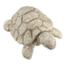 Stone Finish Tortoise Outdoor Garden Statue Turtle - This beautiful cold cast resin tortoise statue is finished to look like it was carved from stone. The turtle measures 14 inches long, 10 1/2 inches wide and 6 inches tall. It looks great in gardens, flowerbeds and lawns. This tortoise is brand new, and makes a great gift for any turtle lover.