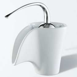 My brand is not in this list - Elite Ceramic Spout Single Hook Lever Chrome Handle Faucet - The quiet operation of this ceramic faucet, ideal for settings on platform sinks or recessive sink, offers the soothing sound of flowing water, while the vitreous china spout brings an entirely new aesthetic to the bathroom.