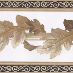 York Wallcoverings - White Black Gold Leaf Column Molding Wallpaper Border - Wallpaper borders bring color, character and detail to a room with exciting new look for your walls - easier and quicker then ever.