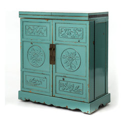 Marco Polo Imports - Lhasa Wine Cabinet Bar, Crackle Turquoise - Representing the best of Asian antique reproductions, the Lhasa Wine Cabinet Bar preserves venerable patterns and exotic frames that have been adapted into a  multi-functional accent item for today's household needs. Hand-painted and distressed, the bar  is constructed using woods reclaimed from demolished buildings, married with traditional Chinese joinery. Crackled painted finishes and layers of lacquer impart an authentically aged feel. The marble inlay top conveniently opens and the doors swing open to transform the cabinet into a lovely bar. Castors allow for easy movement of the piece. Available in Crackle Black or Crackle Turquoise finish.