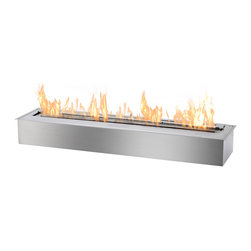 IGNIS - Ignis Bio Ethanol fireplace Burner EB-3600 With 9 Hours Burn Time And 20k BTU - Heating a large area is all in a day's work for this EB3600 Ethanol Fireplace Burner Insert. This big insert allows you to utilize warm, clean-burning ethanol fuel in your home as a better alternative earth-friendly alternative when compared to wood. Insert this ethanol burner insert into your existing wood-burning fireplace to get the beauty of an open fire without burning wood and without all the mess, soot, and ashes that wood produces. The EB3600 ethanol burner holds ten liters of fuel, which is enough to last for around nine hours - or overnight. It is powerful enough to put out 20,500 BTUs, so it will heat most large spaces with ease.