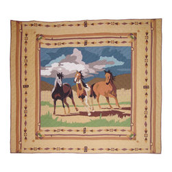 Patch Quilts - Wild Horses, Quilt Luxury King - Intricately appliqued and beautifully hand quilted. Machine washable, line or flat dry only. Patch Quilts - QLKWILH