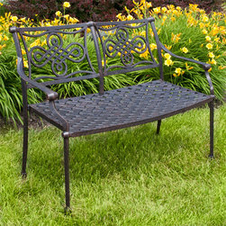 Vienna Cast Aluminum Bench - Pair with other pieces from the Vienna Collection or use as a standalone piece, this cast aluminum bench is as versatile as it is durable. The Vienna Cast Aluminum Bench features a charming design on the backrest and is resistant to corrosion.