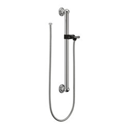 """Delta - Delta 56302 ADA 24"""" Wall Grab Bar in Chrome - Delta 56302 ADA 24"""" Wall Grab Bar in ChromeThe Delta Faucet Company creates products with the highest level of quality and technological advancement. Their products and services offer the highest levels of design, performance and aesthetics.  All parts and accessories are designed exclusively for Delta faucets and are backed by our lifetime limited warranty.  Consumers can enjoy the convenience of bath safety and security with style. The 24"""" decorative ADA wall grab bar now offers all three.  Featuring a 24 in. long, 1-1/4 in. diameter grab bar with an extendible hose and adjustable hand shower mount/slide mechanism. The extendible hose offers versatility and easy movement, stretching from 60 In. to 82 In. long. The ADA compliant bar mount and slide mechanism is operable by left hand, right hand or closed fist. Delta 56302 ADA 24"""" Wall Grab Bar in Chrome, Features:• Delta Wall Grab Bar"""