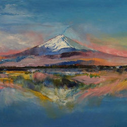 "Epic Art LLC - Mount Fiji By Michael Creese 18""X23"" Gallery Wrapped Canvas - Michael Creese paints in the oil impasto style, a technique used in art where paint is laid thickly on canvas, leaving visible brush (or palette knife) strokes. When dried, impasto provides a great deal of texture to finished paintings."