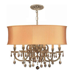Crystorama - Crystorama Brentwood 1 Tier Chandelier in Olde Brass - Shown in picture: Ornate Cast Brass Chandelier Accented with Golden Teak Hand Cut Crystal & Harvest Gold Shade; The Brentwood Collection from Crystorama offers a nice mix of traditional lighting designs with large tailored encompassing shades. Adding either the Harvest Gold or the Antique White shade to these best selling skus opens the door to endless possibilities