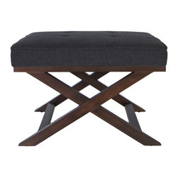 Cortesi Home - Traditional Cross Legs Charcoal Bench Ottoman - This handsome cross-leg bench ottoman provides a versatile addition to any decor. Beautiful crafted hardwood construction and a distinctive walnut finish make this ottoman a stylish and comfortable decorative accent for any home or office.